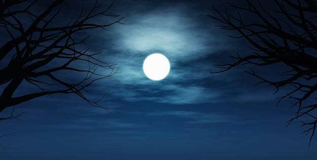 3d-nachthimmel mit gruseligen bäumen