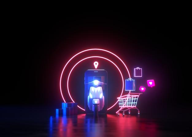 3d neon online-shopping und kostenlose lieferung per scooter-servicekonzept
