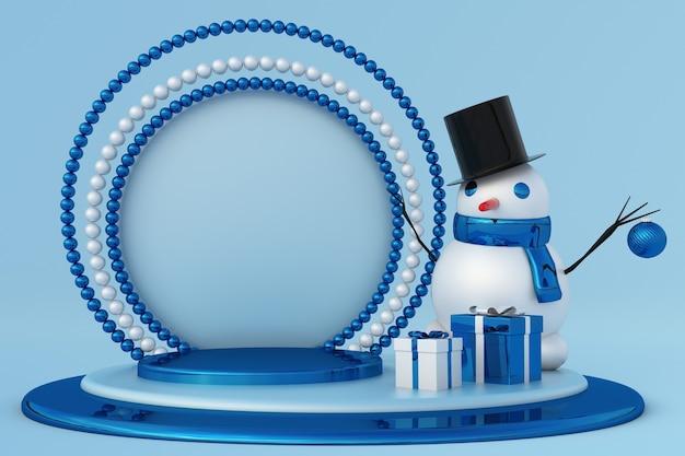 3d neujahr blaues podium für grußkarten mit lustigem schneemann und geschenkboxen festliches winterstudio