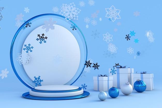 3d neujahr blaues podium mit schneeflocken für grußkarten poster banner festliches studio
