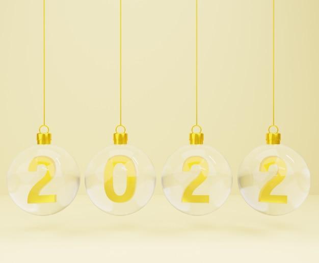 3d-neujahr mit weihnachtskugeln auf goldgrund