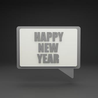 3d neujahrs-chat-blase auf grauem hintergrund