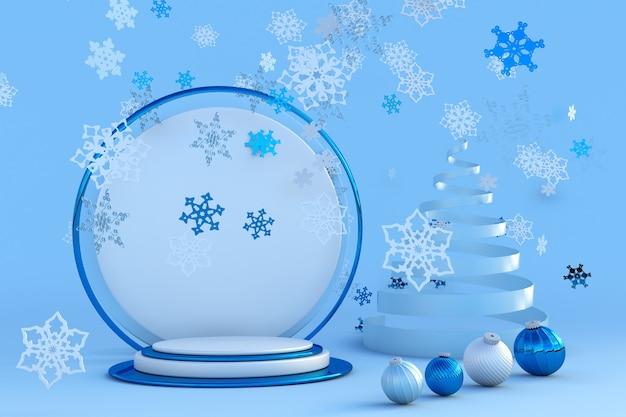 3d neujahrspodium für grußkartenplakatbanner mit abstraktem weihnachtsbaum festliches studio