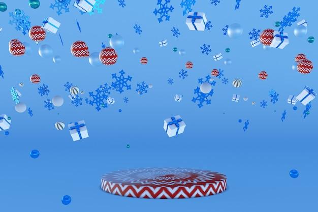 3d neujahrspodium mit fliegenden schneeflocken geschenkboxen weihnachtskugeln für grußkartenplakate