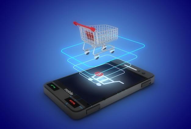 3d online-shopping-konzept. smartphone laptop und wagen. 3d-illustration