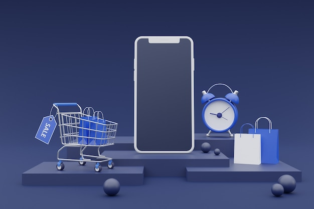 3d-online-shopping-promotion-konzept mit smartphone-modell auf dunklem hintergrund. 3d-rendering.