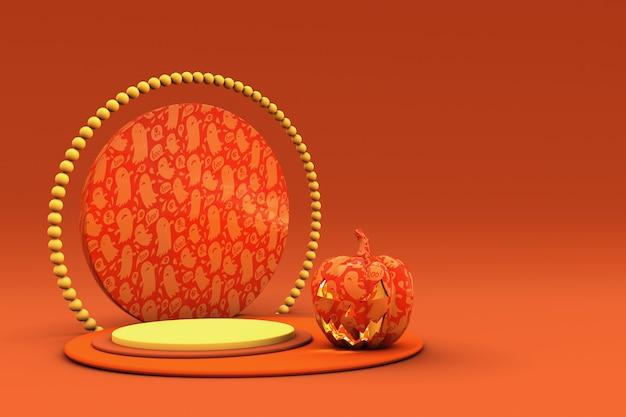 3d-orange-podium mit halloween-kürbis für produktpräsentation oder werbung für herbstferien