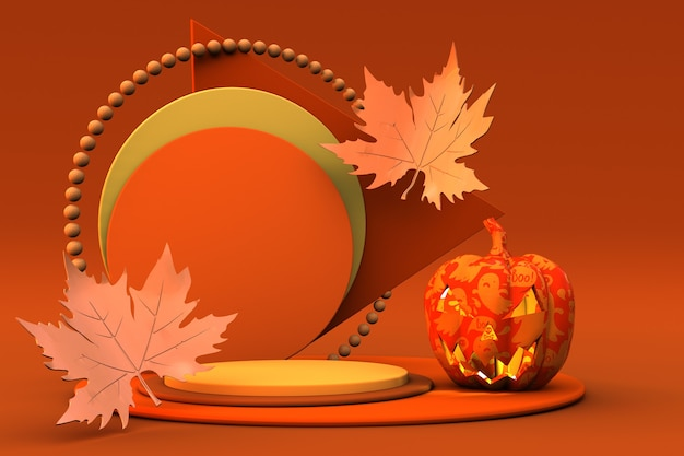 3d-orange-podium oder sockel mit halloween-kürbis und goldblättern im herbsturlaub