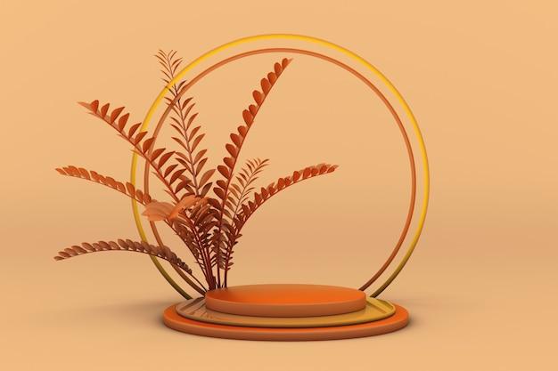3d orange studio runde podium abstrakte pflanze auf pastellhintergrund produktförderung