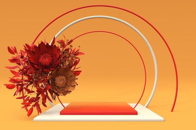 3d orangefarbenes quadratisches podium mit herbstkomposition aus roten blumen sockel für hautpflegeprodukte