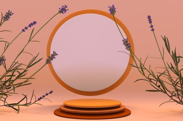 3d orangefarbenes rundes podium mit herbstlicher zusammensetzung von lavendelpflanzen sockel für hautpflegeprodukte