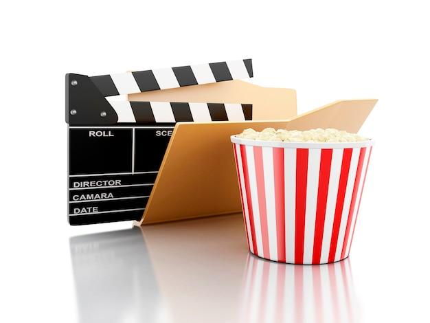 3d ordner mit kino klöppel und popcorn.