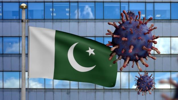 3d, pakistanische flagge, die mit moderner wolkenkratzerstadt und coronavirus-ausbruch als gefährliche grippe weht. influenza-virus vom typ covid 19 mit nationalem pakistanischem banner, das hintergrund weht.