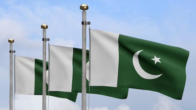 3d, pakistanische flagge weht im wind mit blauem himmel und wolken. nahaufnahme von pakistan banner weht, weiche und glatte seide. stoff textur fähnrich hintergrund.