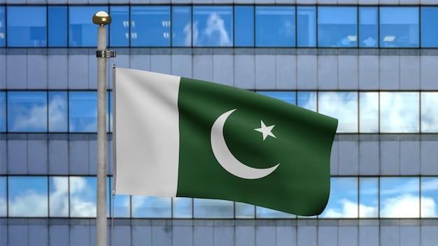 3d, pakistanische flagge weht im wind mit moderner wolkenkratzerstadt. nahaufnahme von pakistan banner weht, weiche und glatte seide. stoff textur fähnrich hintergrund.