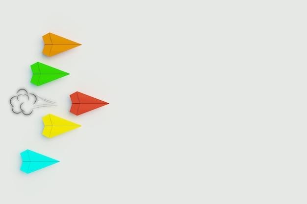 3d-papierrakete take aleader, führungskonzept, 3d-darstellung