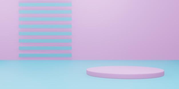 3d-pastell-minimalproduktmodell. rosa und blauer ständer.
