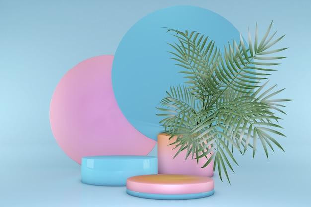 3d-pastellrosa-blau-abstrakter geometrischer sockel sommer-vibes-podium minimalistisches design mit tropischen palmen podium-hintergrundstudio für präsentationsverkauf von kosmetikprodukten
