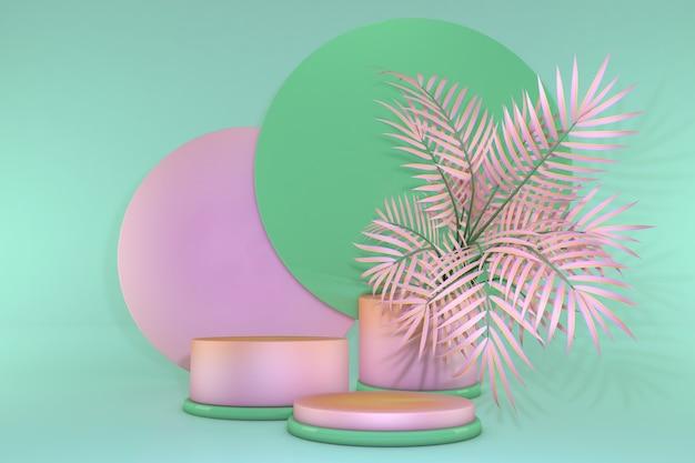 3d-pastellrosa-grün-abstrakter geometrischer sockel sommer-vibes-podium minimalistisches design mit tropischen palmen podium-hintergrundstudio für präsentationsverkauf von kosmetikprodukten