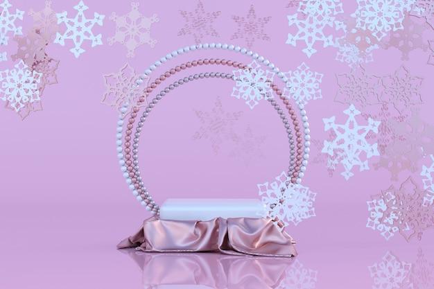 3d pastellrosa podiumsockel fliegende schneeflocken frohe weihnachten und neujahr 2022 konzept