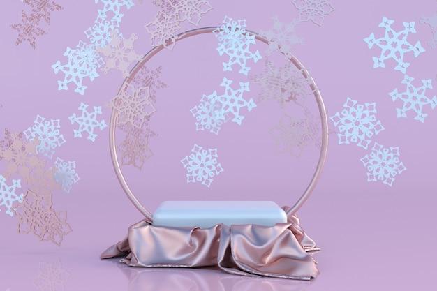 3d pastellrosa weihnachtsstudio neujahr konzept präsentation podium urlaub hintergrund