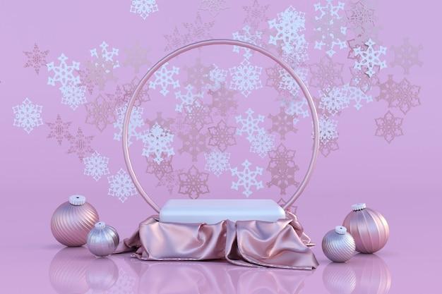3d pastellrosa weihnachtsstudio neujahr podium feiertagshintergrund festliche fliegende schneeflocken