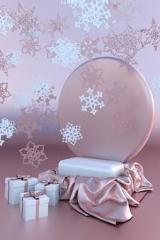 3d pastellrosa weihnachtsstudio neujahrspodium festliche weihnachtskugeln und schneeflocken