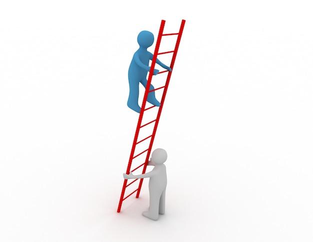 3d-person hilft einem anderen beim klettern