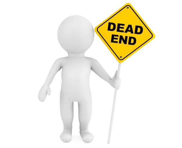 3d-person mit dead end-verkehrszeichen auf weißem hintergrund