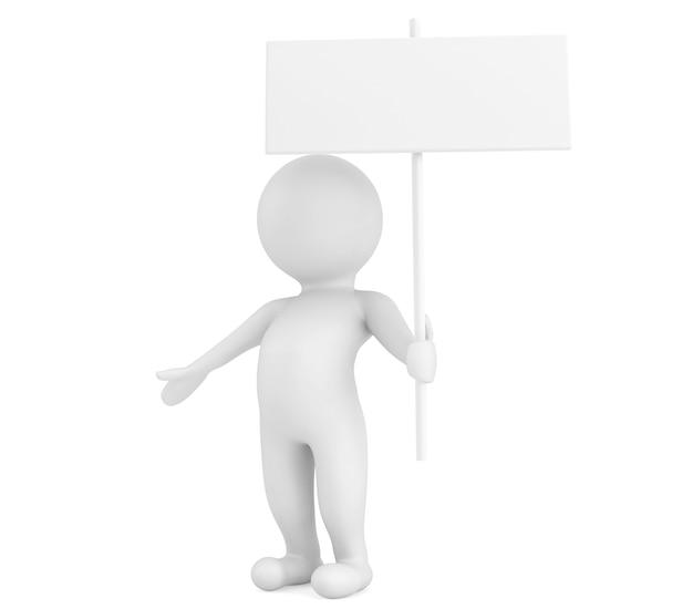3d-person mit leerem schild auf weißem hintergrund