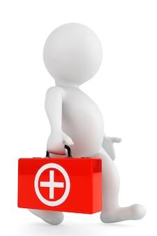 3d-person mit medizinischem fall auf weißem hintergrund