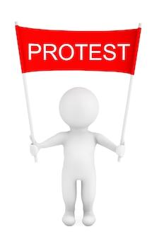 3d-person mit protest-plakat-banner in händen auf weißem hintergrund. 3d-rendering