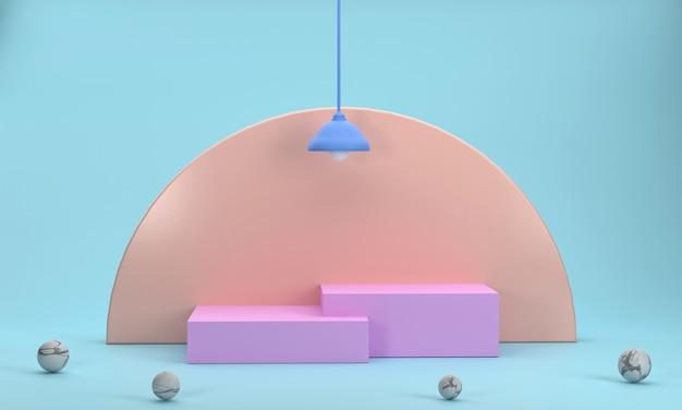3d pink square podium für business-produktanzeige orangefarbener halbkreishintergrund und wandlampen