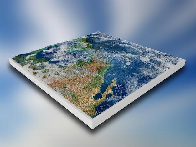 3d pixelierter landschaftsblock mit extrudierten würfeln