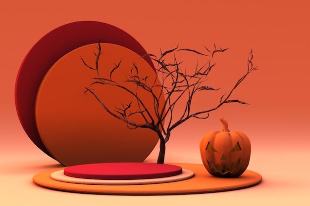 3d-podest oder podest mit halloween-kürbis zur produktpräsentation oder werbung für herbstferien