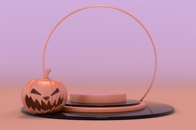 3d-podest-podium halloween-kürbis leuchtend orangefarbene buchse auf der vitrine für produktwerbung