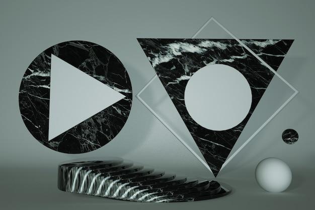 3d podestständer aus schwarzem marmor