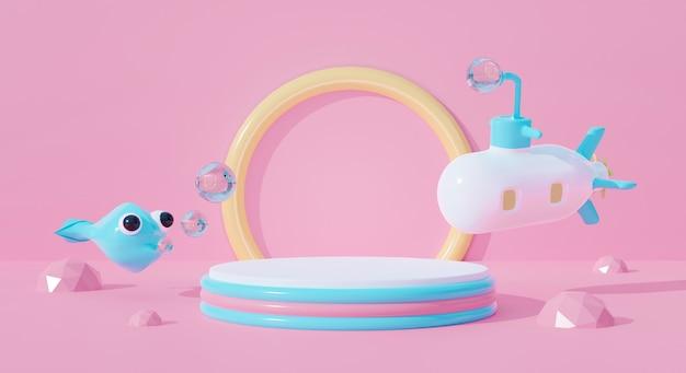 3d-podium auf abstraktem wasser des pastellhintergrunds. u-boot-cartoon-kind und fisch.
