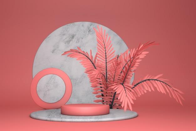 3d-podium auf hellrotem pastellhintergrund und abstraktem palmenblatt
