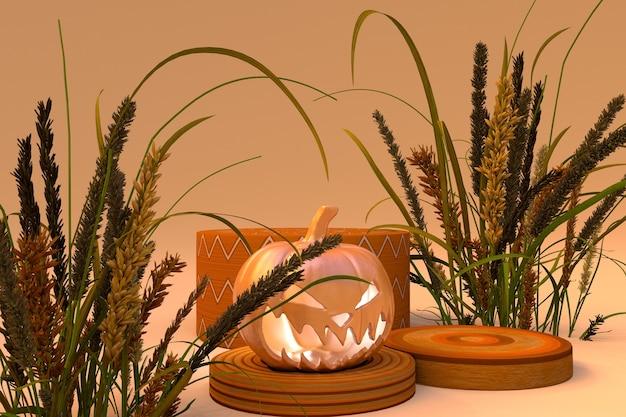 3d-podium auf pastellbeigem hintergrund halloween-kürbis gespenstische abstrakte trockene pflanzen herbstszene