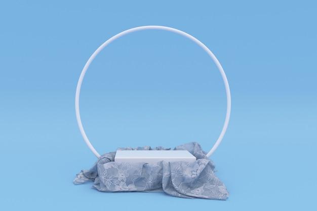 3d-podium bedeckt mit weißem tüll-material auf blauem hintergrund isoliert stoff mit drapierung