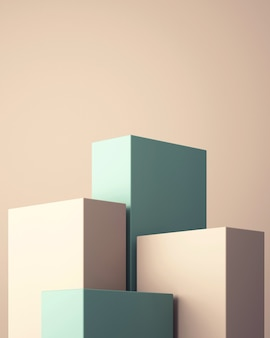 3d-podium für mock-up für produktpräsentation, abstrakter pastellfarbener hintergrund, 3d-rendering