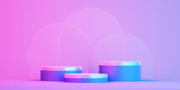 3d-podium für mock-up für produktpräsentation, bunter hintergrund, 3d-rendering