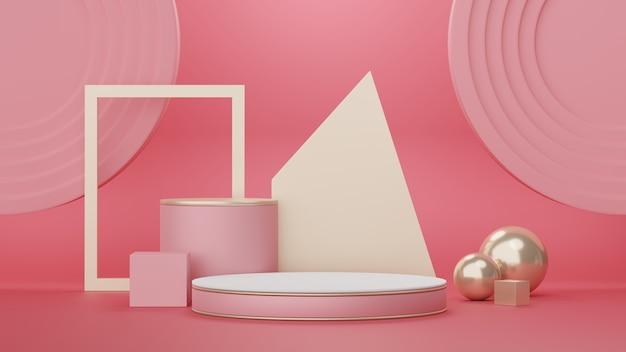 3d-podium für produktplatzierung mit retro-modernem und zeitgemäßem designkonzept