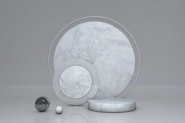 3d-podium mit minimalem marmoreffektzylinder mit kreisbogen auf grauem hintergrund