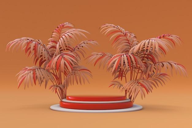 3d-podium mit orangefarbenem palmenleersockel für produktpräsentation und abstrakten hintergrund mockup