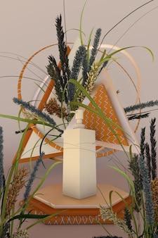 3d-podium mit trockenen herbstpflanzen und shampoo-modell zusammensetzung für schönheitsprodukt
