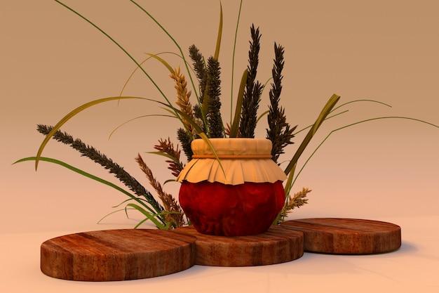 3d-podium mit trockenen pflanzen und glas mit marmeladenmodell holzsockeltisch mit pflanzenzusammensetzung