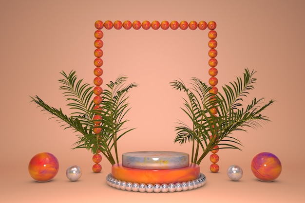 3d-podium, tropischer sockel auf orangefarbenem hintergrund mit grünem natürlichem palmblatt. schaufenster für schönheitsprodukte, kosmetische werbung.