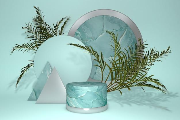 3d-podium, tropischer sockel mit grünem natürlichem palmblatt für produktpräsentation